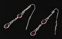 Sterling Silver Drop Dangle 10.64ctw Ruby Earring - L22313