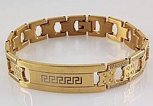 Men's Electroplated Link Gold Bracelet 8 3/4 - L25137