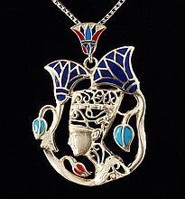 12.60g Egyptian Jewelry - Queen Nefertiti Silver Pendant - L21762