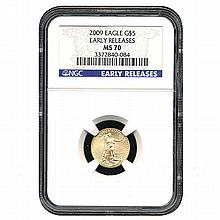 Certified $5 American Gold Eagle 2009 MS70 NGC - L18098