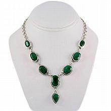 238ctw Natural Emerald Silver Necklace - L10764