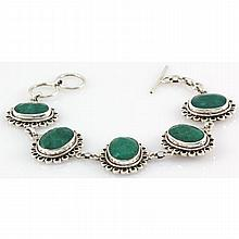169ctw Toggle Clasp Silver Emerald Bracelet - L10768
