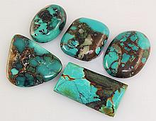 Natural Turquoise 124.00ctw Loose Small Gemstone Lot of 5 - L21232
