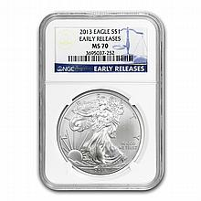 2013 Silver American Eagle MS-70 NGC (Early Releases) - L22866