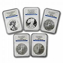 2011 (5 Coin) Silver Eagle Set MS/PF-70 NGC 25th Anniv ER - L22710