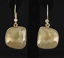 TeaGreen Sapphire 48.95ctw Gold Plated Brass Earring - L21761