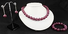 Handknotted Purple Berry Jade Necklace Set Jewelry - L23308