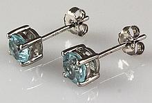 Aqua Marine Gemstone 0.90ctw Silver Stud Earring 0.79g - L22388