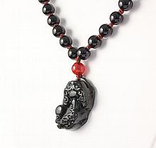 Chinese Jade Pixiu Necklace with Black Agate Beads - L23337