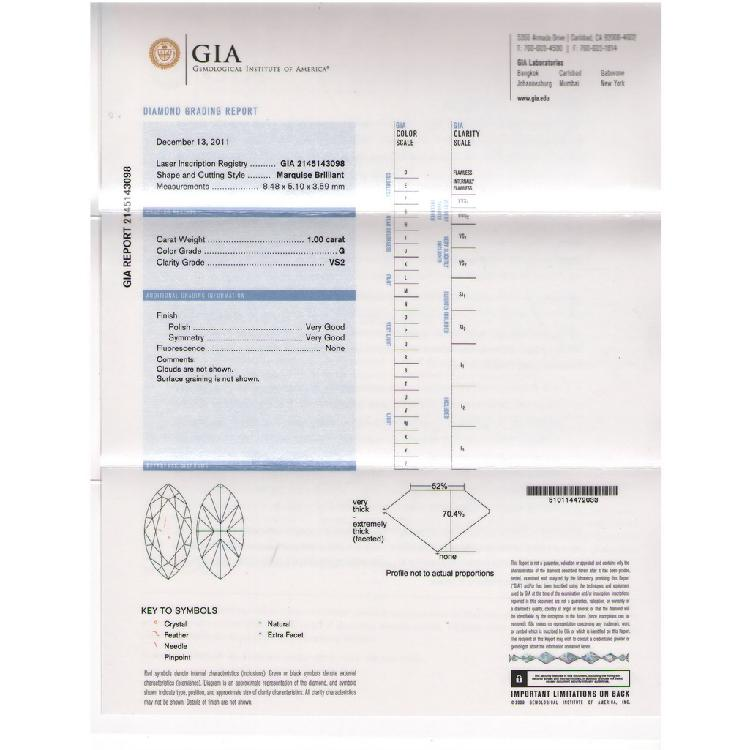 Gia 100 Ct Certified Marquise Brilliant Diamond Gvs2 L1629657