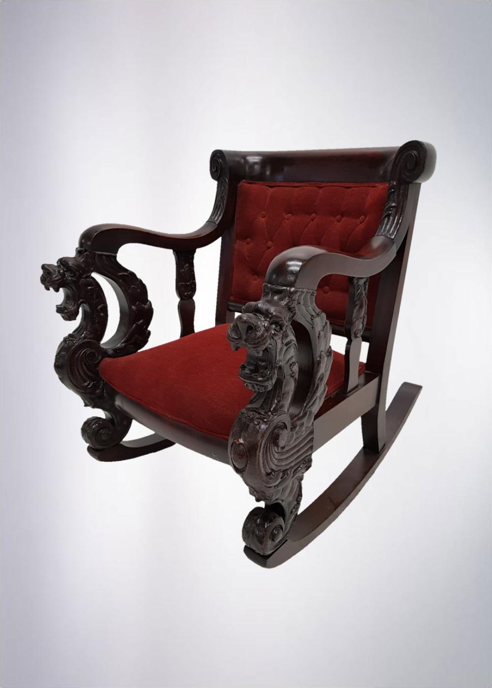 Astounding Great Mahogany Winged Griffin Rocking Chair Gamerscity Chair Design For Home Gamerscityorg