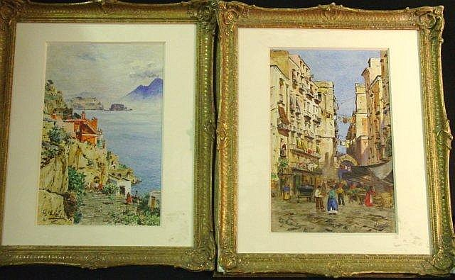 Pair watercolors by Felix Hollenberg