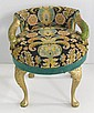 Italian carved needlepoint upholsered vanity stool