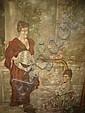 19th c. handpainted tapestry