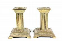 Pair arts & crafts brass square candlesticks