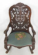 Beautifully open carved back rocker