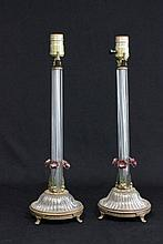 Pair crystal column lamps