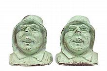Pair green painted figural iron book ends