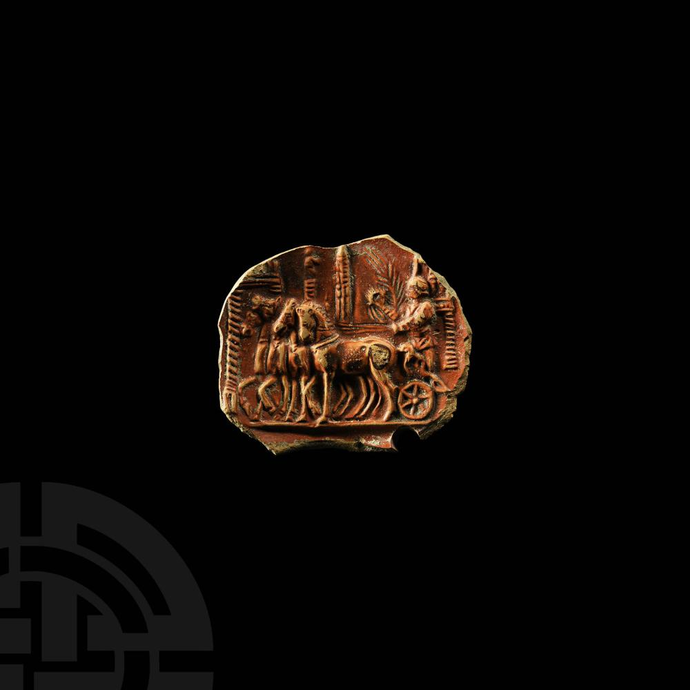 Roman Terracotta Lamp Fragment with Victory Quadriga in Circus Maximus