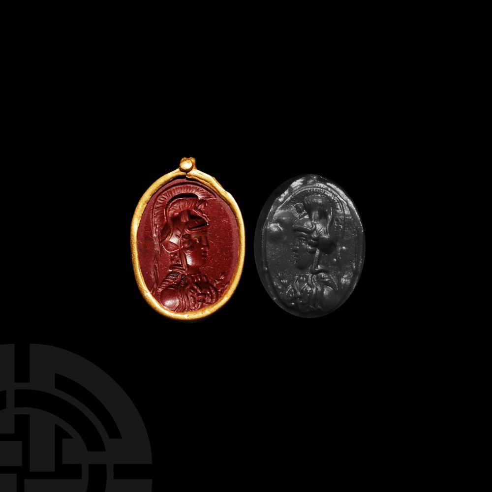Roman Gold Pendant with Bust of Athena Parthenos Gemstone