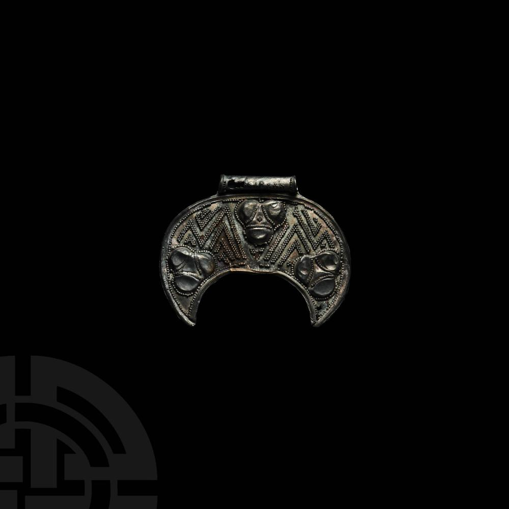Viking Age Silver Filigree Lunar Pendant