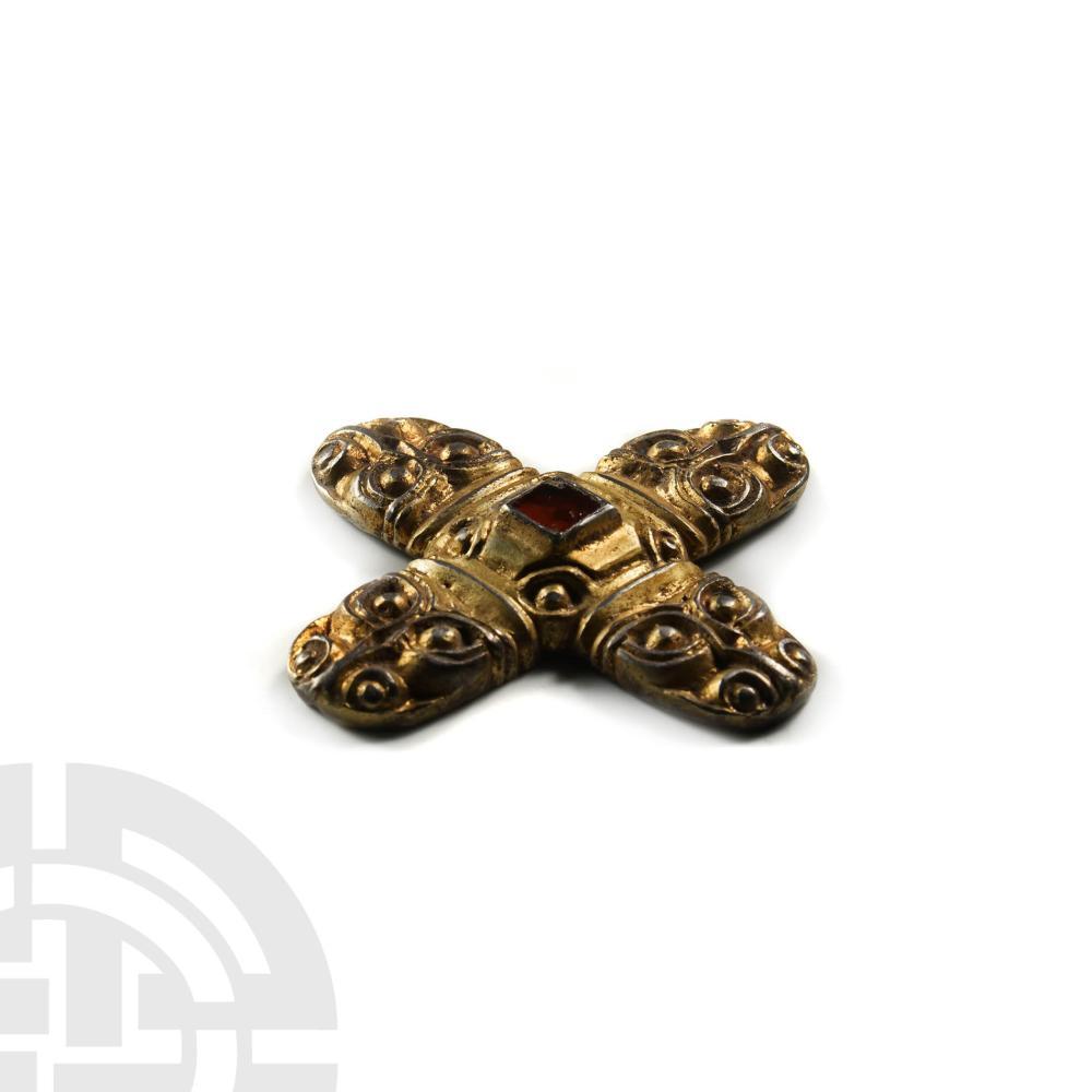 Pre-Viking Gilt Silver Beast-Head Cross Sword Mount