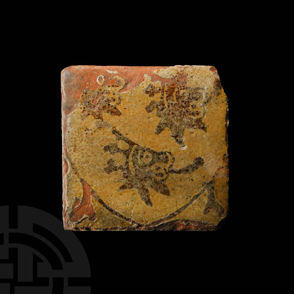 Medieval English Glazed Floor Tile with Heraldic Shield and Three Crowned Lions