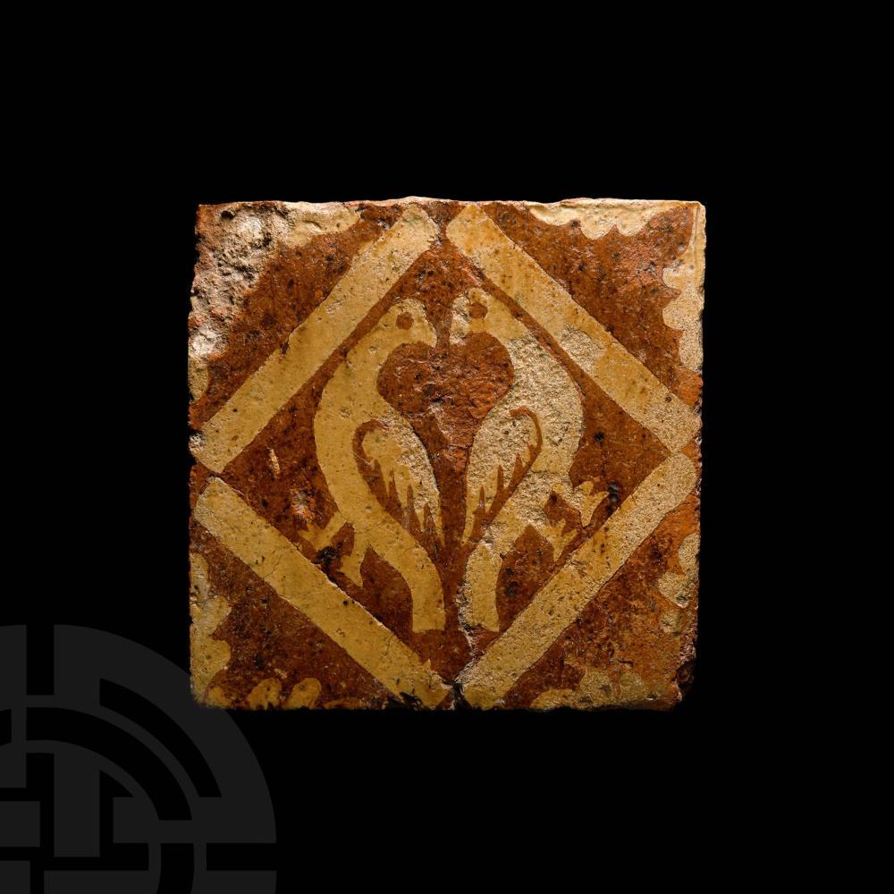 Medieval Glazed Floor Tile with Addorsed Birds