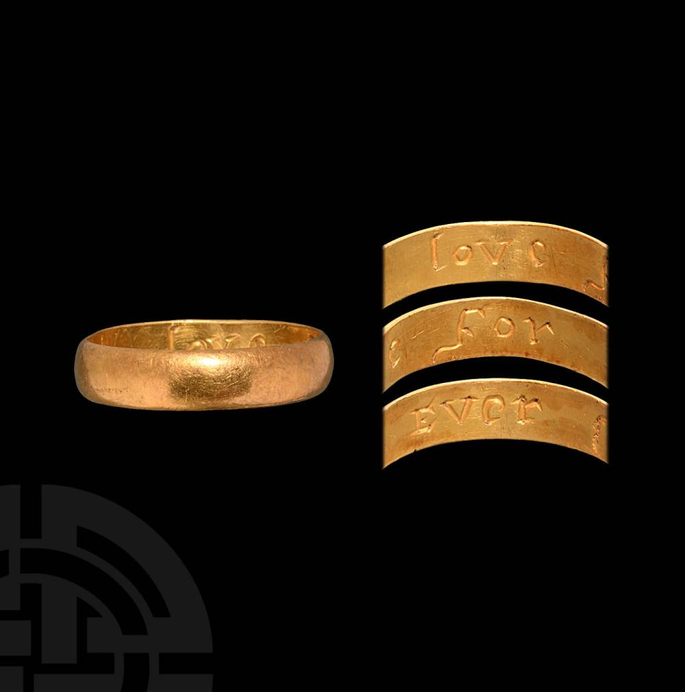 Post Medieval Gold 'Love For Ever' Posy Ring