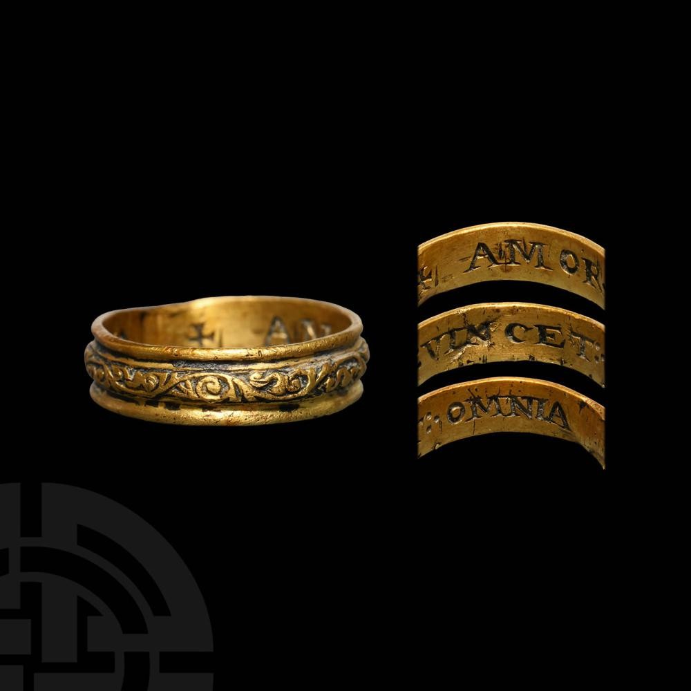 Post Medieval Gold 'Love Conquers All' Posy Ring
