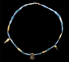 Egyptian Glazed Composition Necklace with Gold Amulets