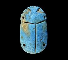 Egyptian Glazed Composition Scarab Plaque