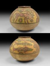 Mehrgarh Polychrome Jar with Bull and Fish
