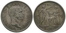 World -Italy- Vittorio Emanuele III -1927R- 20 Lire