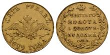 World Coins-Russia-Nicholas I-1829-Gold 5 Roubles