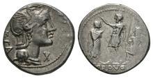 Republican Coins-P Porcius Laeca-Warrior Denarius