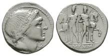 Republican Coins - L Memmius - Dioscuri Denarius