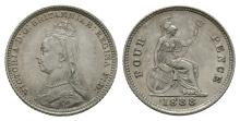 English Milled Coins - Victoria - 1888 - Groat