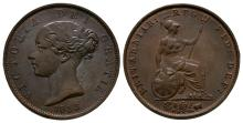 English Milled Coins - Victoria - 1853 - Halfpenny