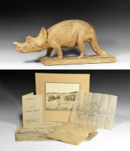 Triceratops Dinosaur Model & Sketches
