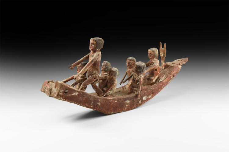 Egyptian Painted Boat with Oarsmen