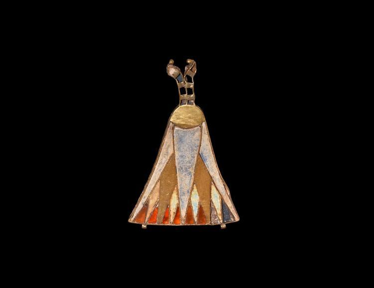 Egyptian Gold Jewelled Lotus Flower Pendant