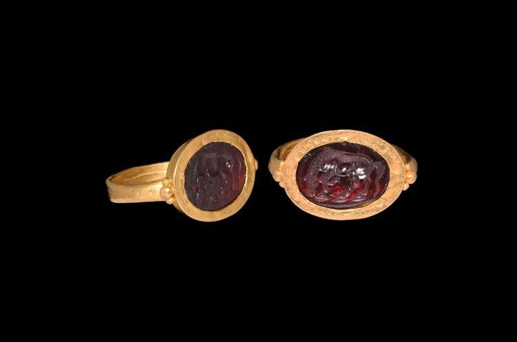 Greek Horse Gemstone Intaglio in Gold Ring