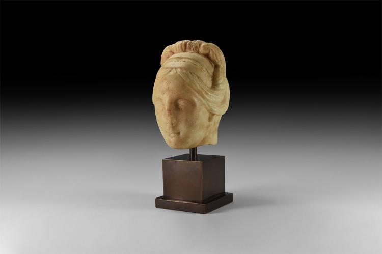 Roman Marble Head of a Hadrianic Lady