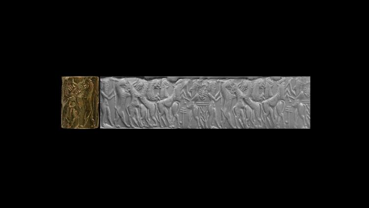 Old Akkadian Cylinder Seal with8 Figure Contest