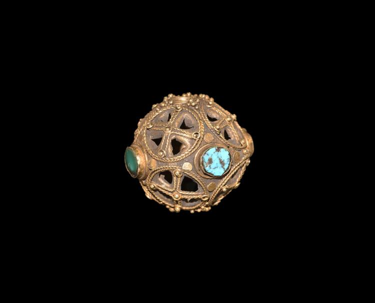 Gold & Turquoise Openwork Rosary Bead
