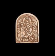 Byzantine Steatite Icon with Christ in Temple