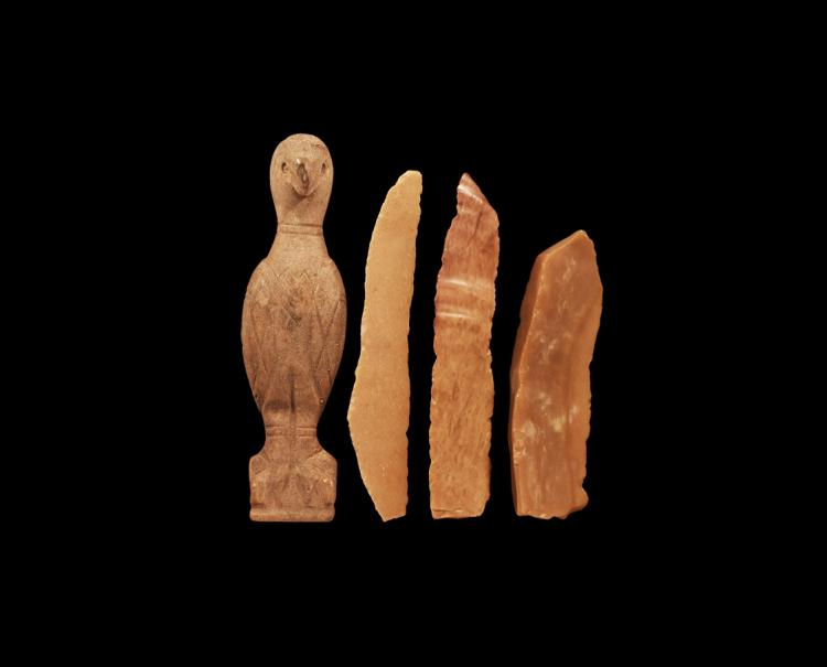 Egyptian Ceramic Bird Idol and Scraper Group