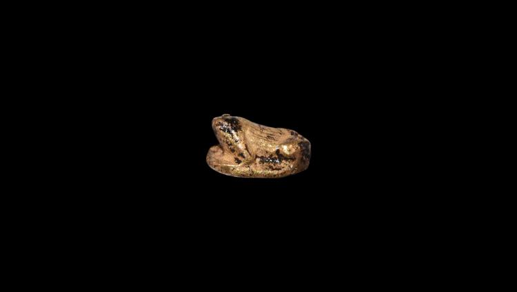 Egyptian Gold Frog Amulet with Inscription