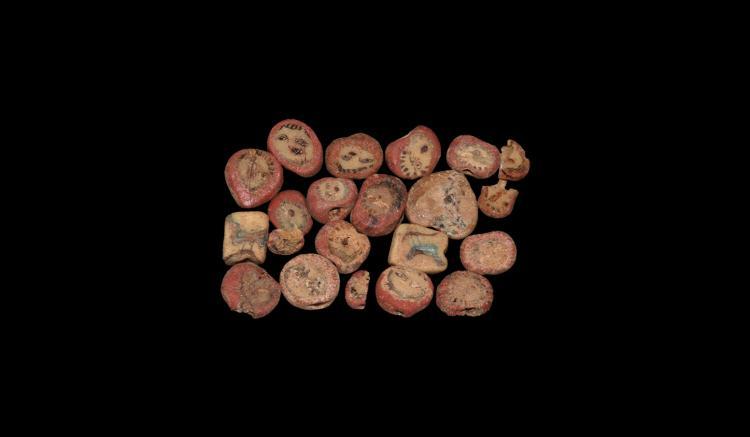Egyptian Glass Face Bead Group